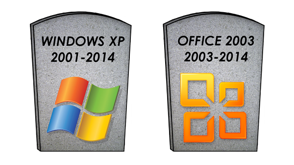 Windows XP, Office 2003, small business server 2003 end of life